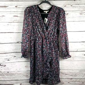 Shimmery floral faux wrap dress
